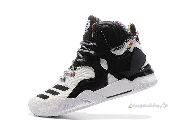 Chaussure de Basket Adidas Derrick Rose Vii 7 Blanc Noir Multicolore (by3475)
