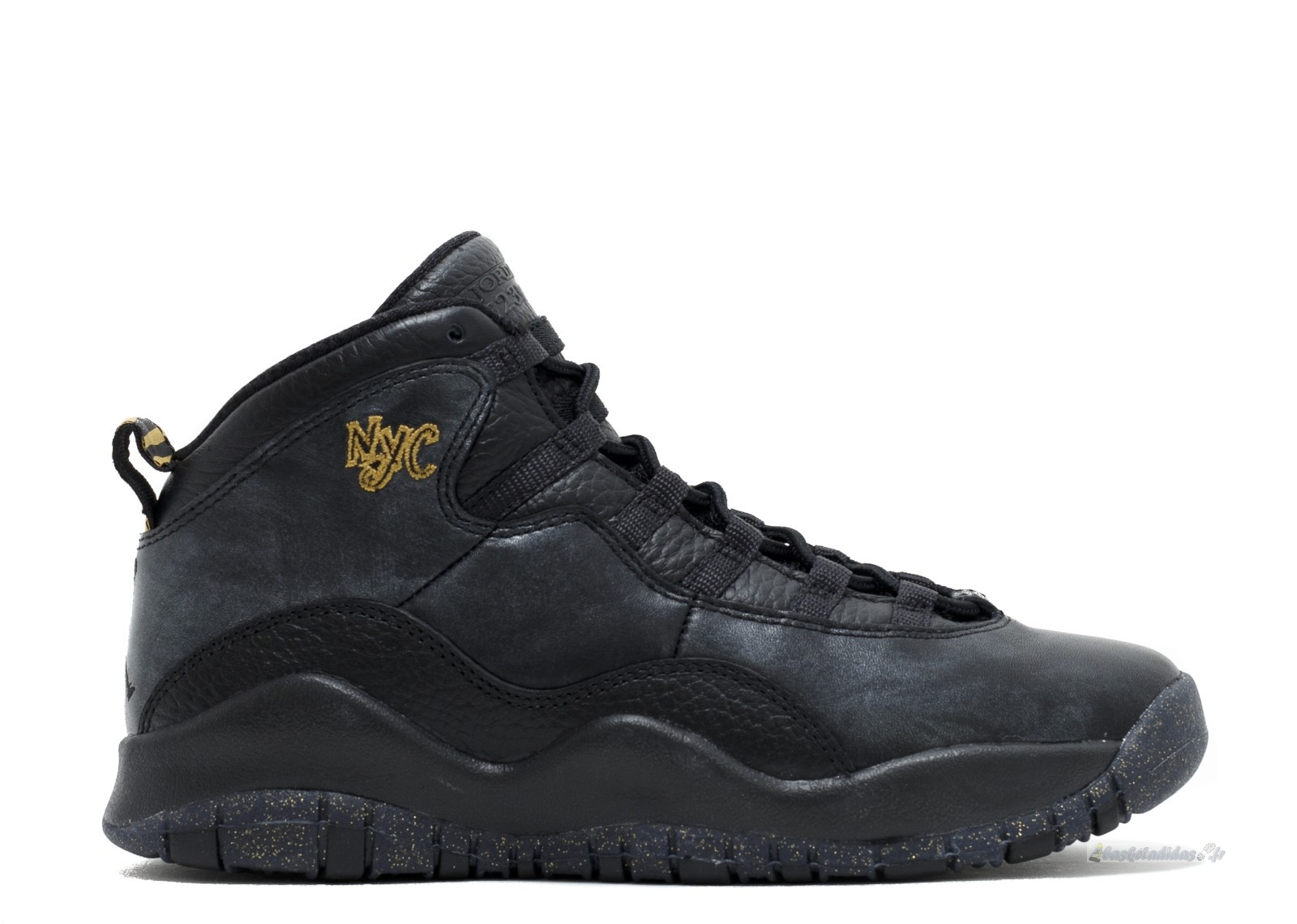 "Chaussure de Basket Air Jordan 10 Retro Bg (Gs) ""Nyc"" Noir Or (310806-012)"