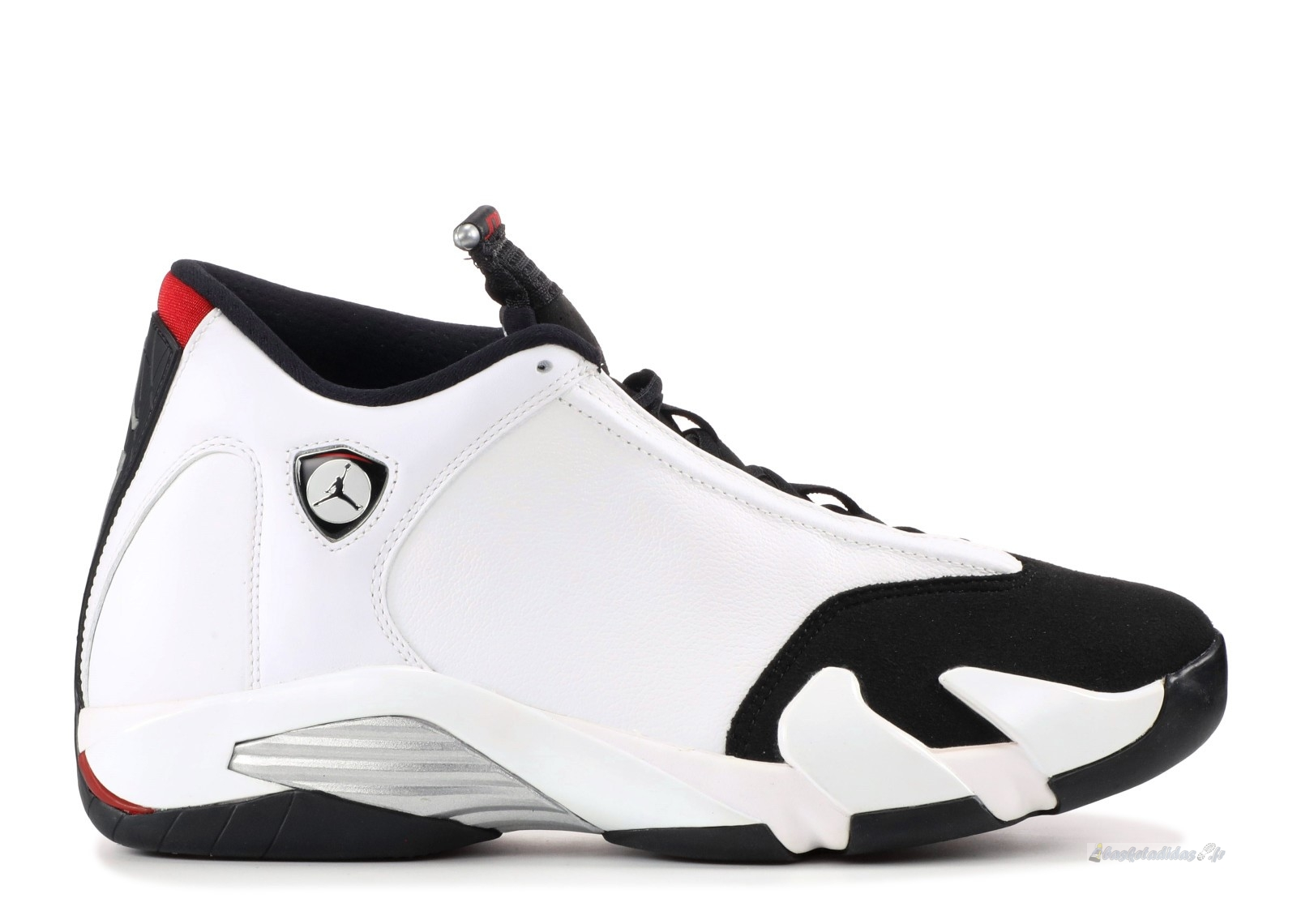 "Chaussure de Basket Air Jordan 14 Retro ""Black Toe"" Blanc Noir (487471-102)"