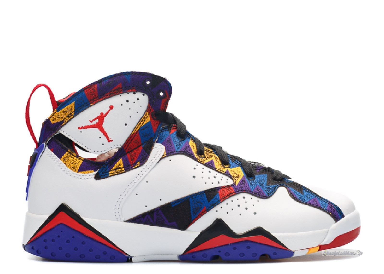 "Chaussure de Basket Air Jordan 7 Retro (Gs) ""Nothing But Net"" Blanc Bleu Rouge (304774-142)"