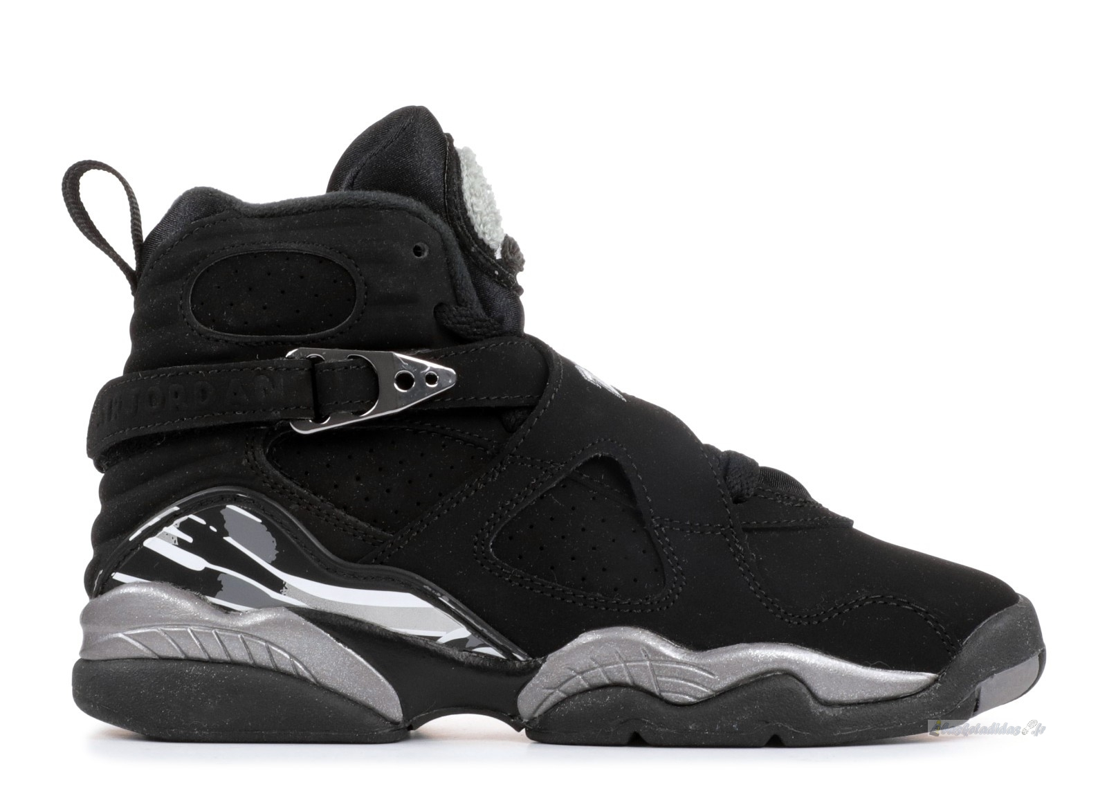 "Chaussure de Basket Air Jordan 8 Retro (Gs) ""Chrome 2015 Release"" Noir Gris (305368-003)"