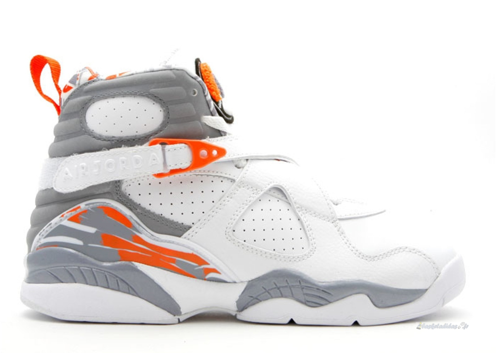 Chaussure de Basket Air Jordan 8 Retro (Gs) Gris Blanc (305368-102)