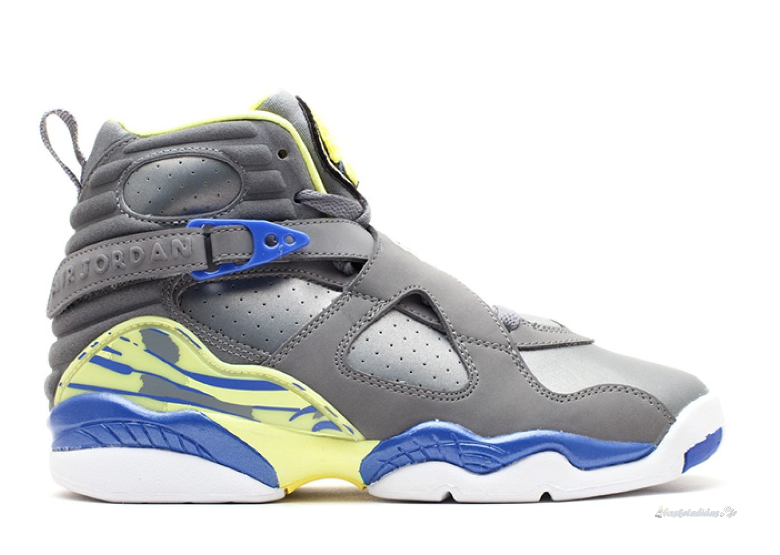 Chaussure de Basket Air Jordan 8 Retro (Gs) Gris Jaune (580528-038)