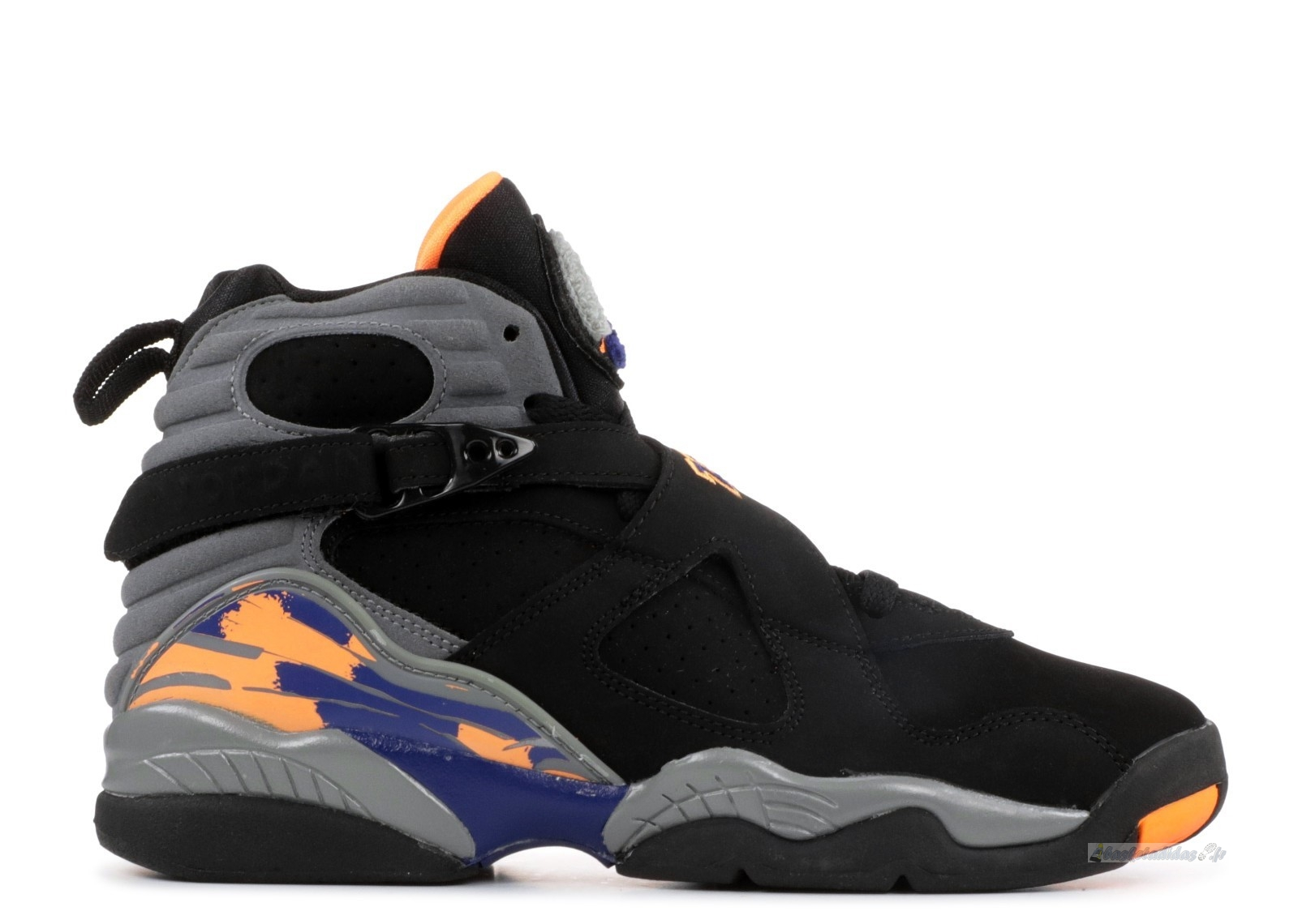 "Chaussure de Basket Air Jordan 8 Retro (Gs) ""Phoenix Suns"" Noir Gris Orange (305368-043)"