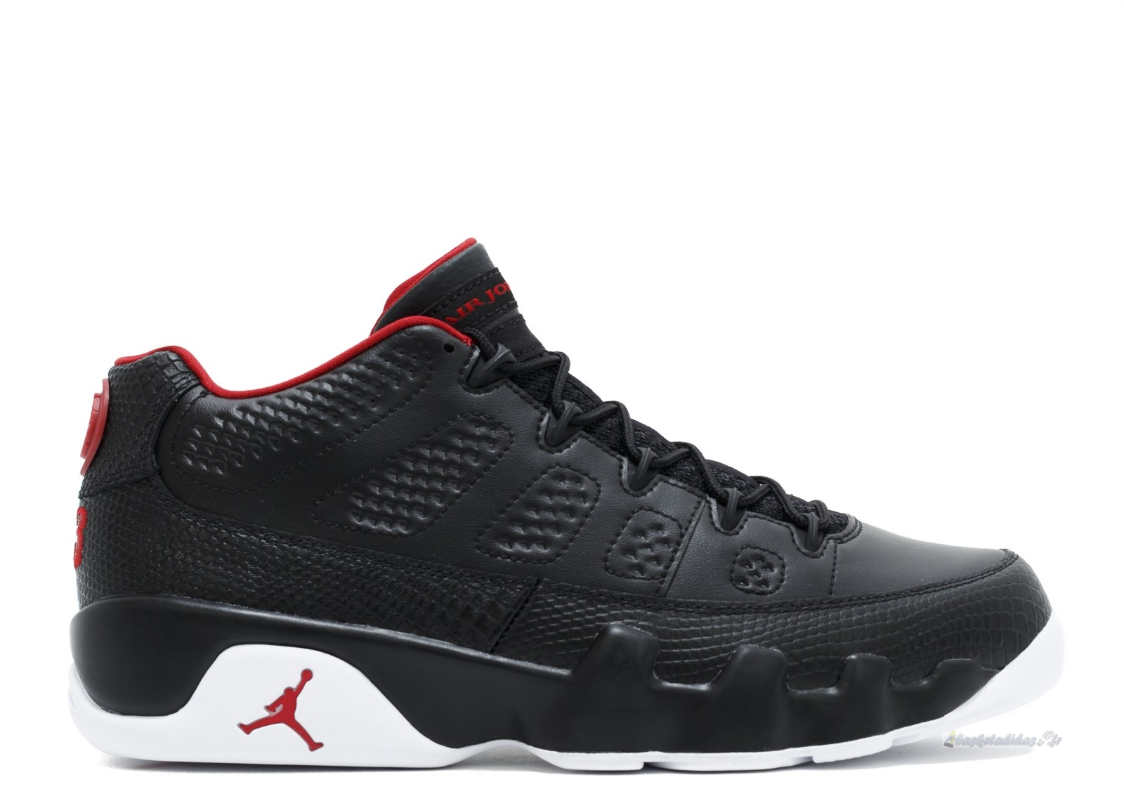 "Chaussure de Basket Air Jordan 9 Retro Low ""Bred"" Noir Blanc Rouge (832822-001)"