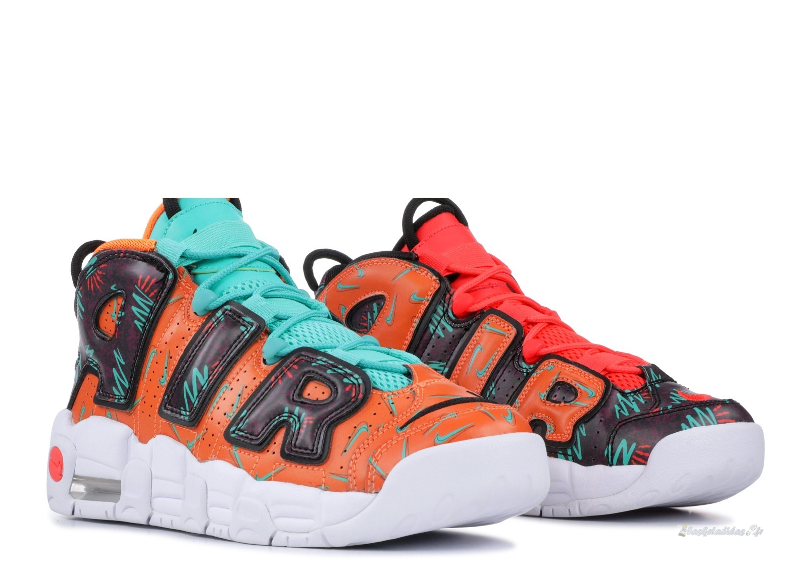 "Chaussure de Basket Nike Air More Uptempo (Gs) ""What The 90S"" Orange Noir (at3408-800)"