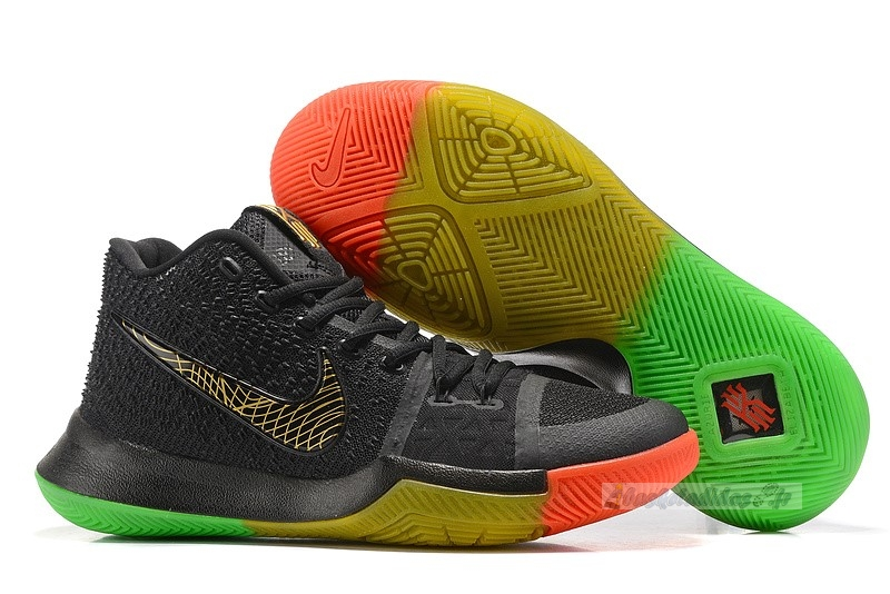 "Chaussure de Basket Nike Kyrie Irving Iii 3 ""Rise And Shine"" Noir Vert Rouge Or"