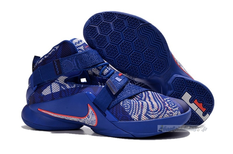 "Chaussure de Basket Nike Lebron Soldier Ix 9 ""Freegums"" Bleu Rouge"