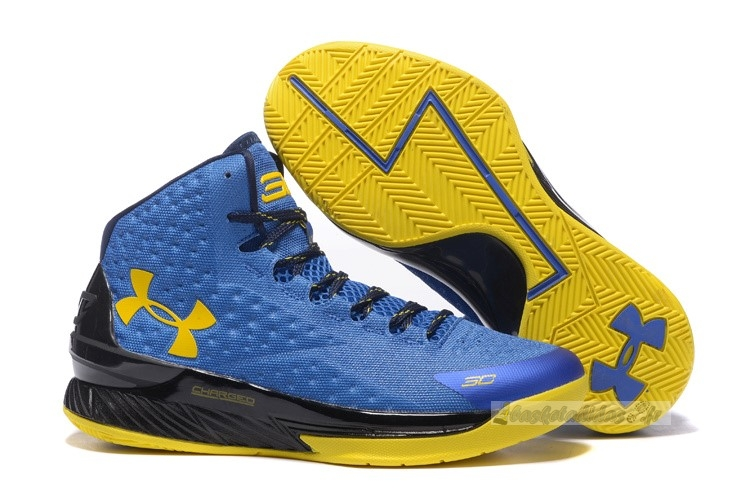 Chaussure de Basket Under Armour Curry 1 Bleu Jaune Noir