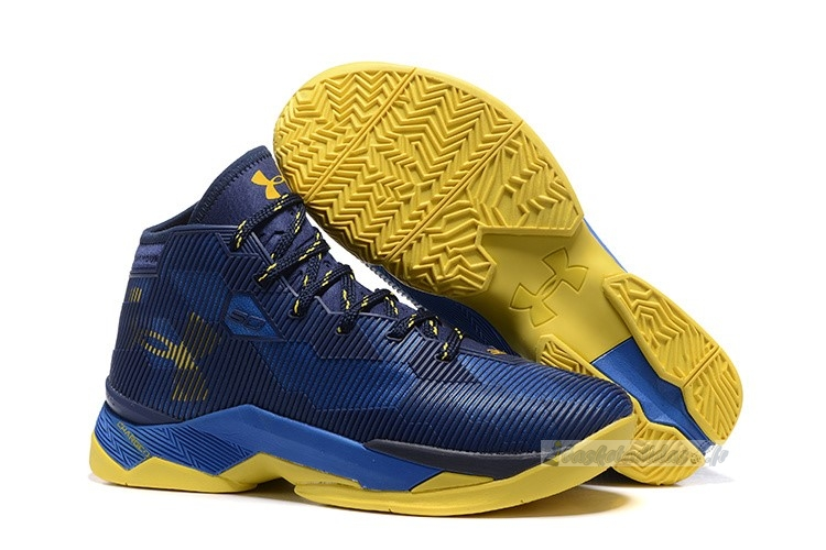 "Chaussure de Basket Under Armour Curry 2.5 ""Dub Nation"" Marine Bleu Jaune"