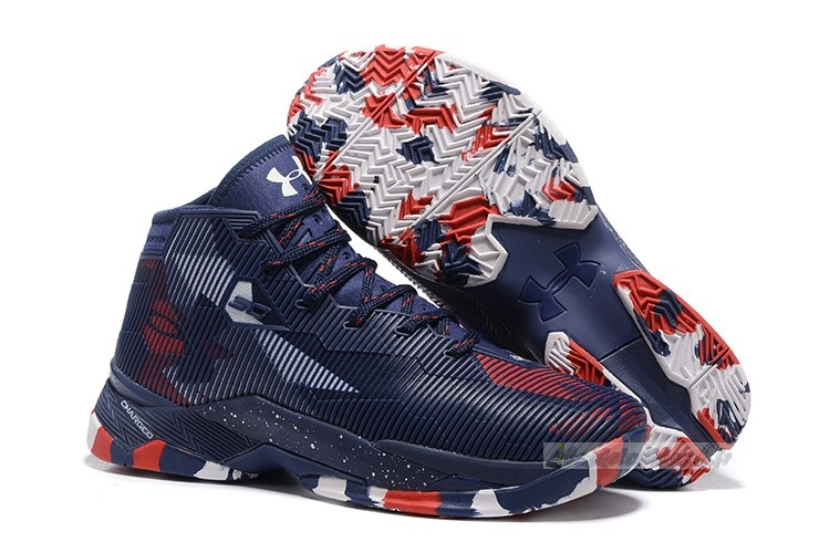 "Chaussure de Basket Under Armour Curry 2.5 ""Usa"" Marine Rouge Blanc"