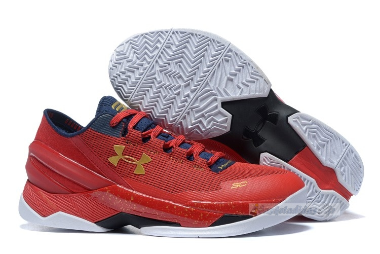 Chaussure de Basket Under Armour Curry 2 Low Rouge Or