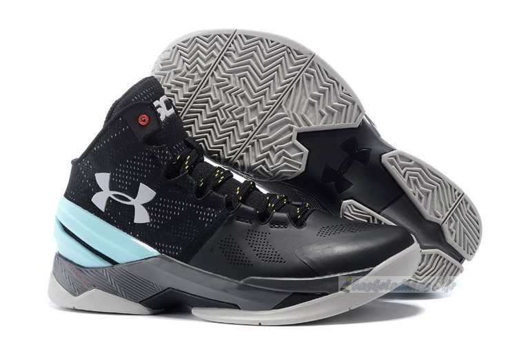 Chaussure de Basket Under Armour Curry 2 Noir Gris Menthe