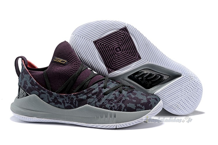 Chaussure de Basket Under Armour Curry 5 Low Gris Pourpre