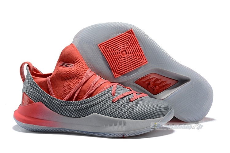 Chaussure de Basket Under Armour Curry 5 Low Gris Rouge