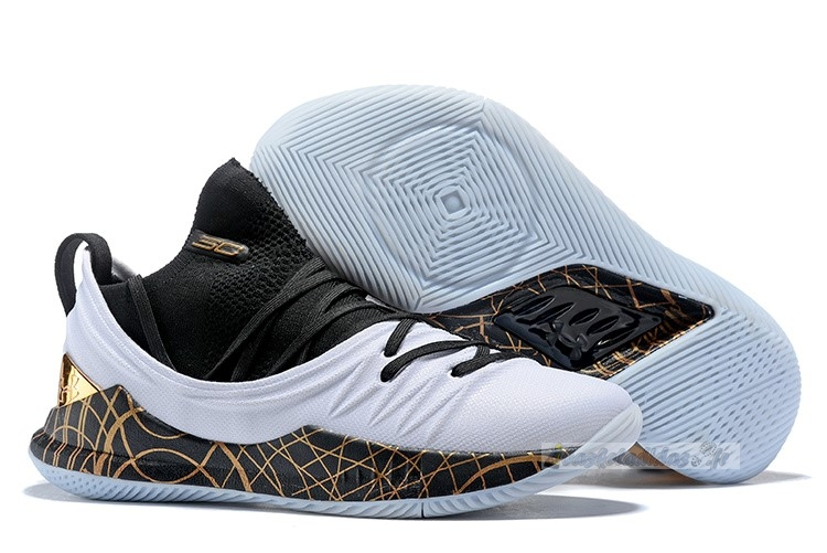 Chaussure de Basket Under Armour Curry 5 Low Noir Blanc Or