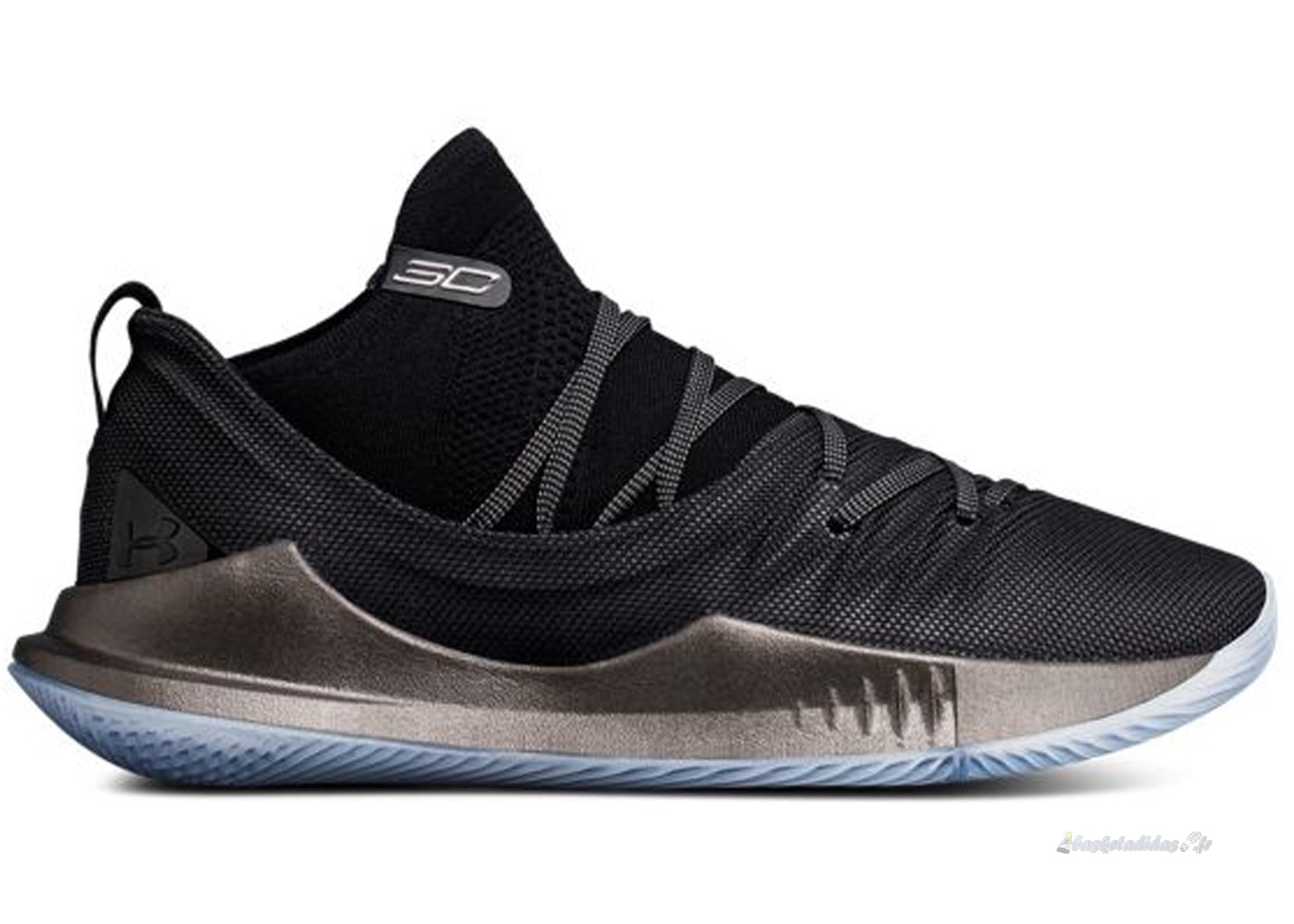 "Chaussure de Basket Under Armour Curry 5 ""Pi Day"" Noir Métallique Or (3020657-002)"
