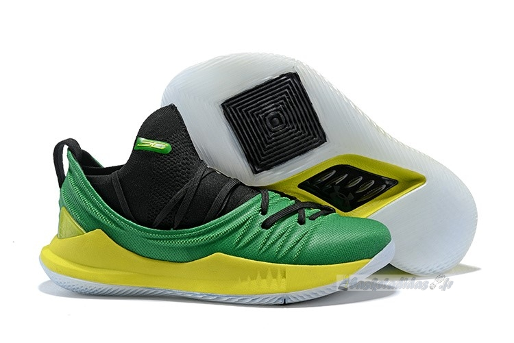 Chaussure de Basket Under Armour Curry 5 Vert Jaune Noir
