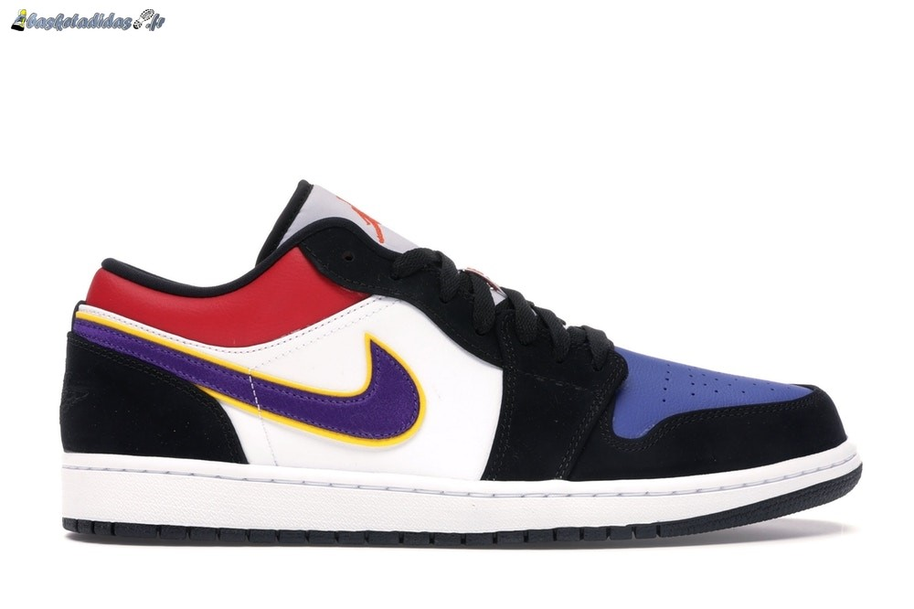 Chaussure de Basket Air Jordan 1 Low 'Lakers' Top 3 Noir Pourpre (CJ9216-051)