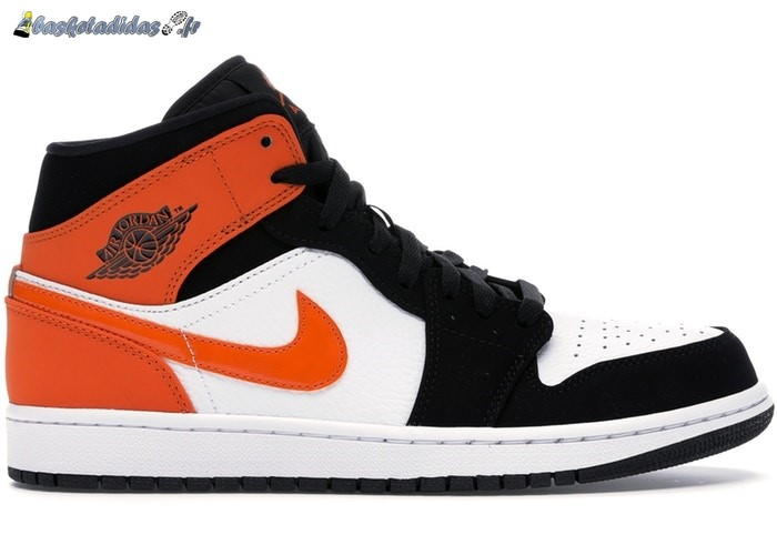 Chaussure de Basket Air Jordan 1 Mid 'Shattered Backboard' Noir Orange (554724-058)