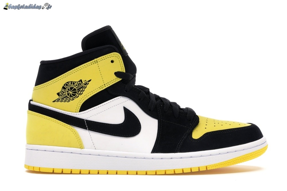 Chaussure de Basket Air Jordan 1 Mid 'Yellow Toe' Noir (852542-071)