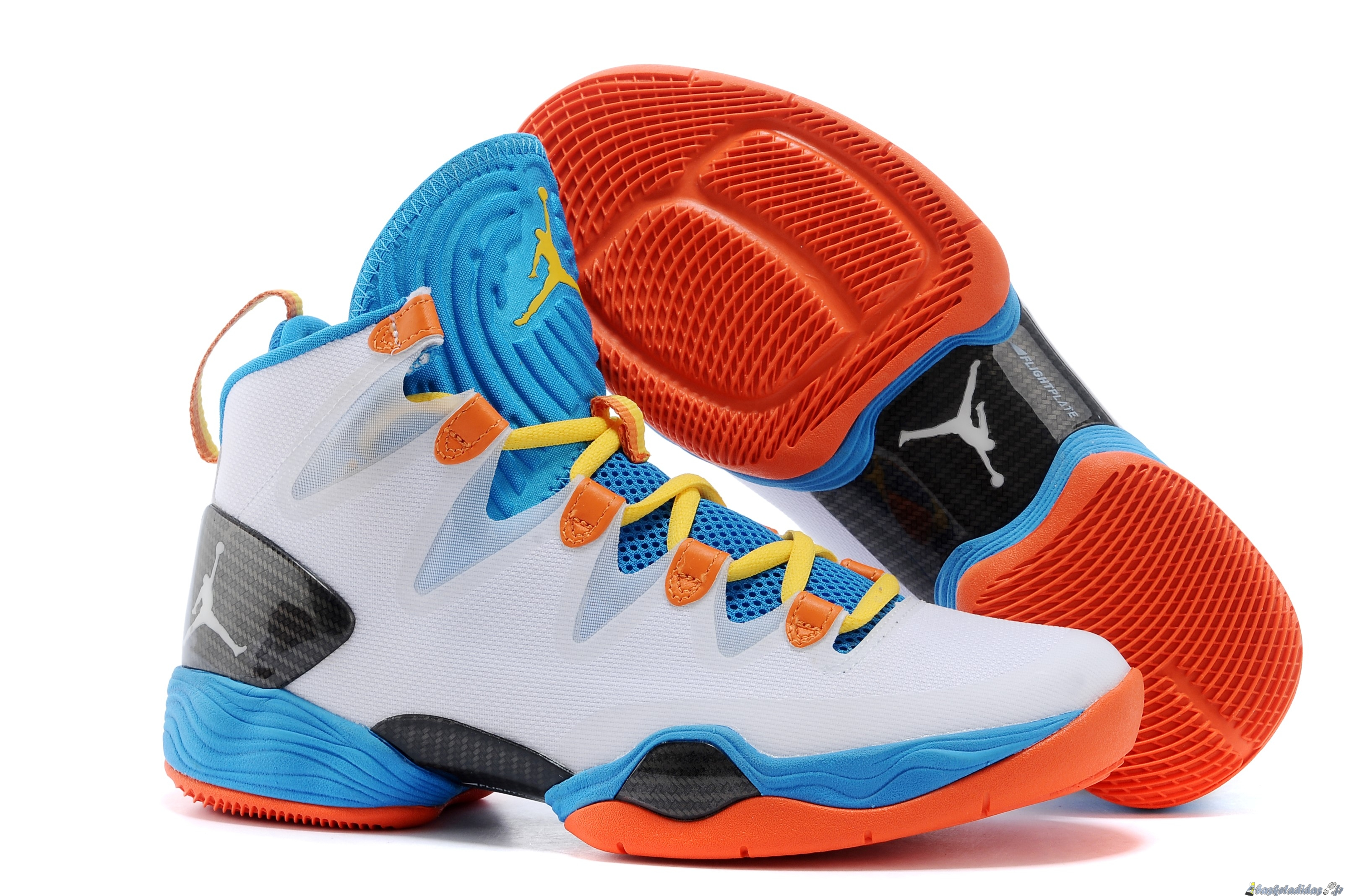 Chaussure de Basket Air Jordan 28 Homme Blanc Bleu Orange