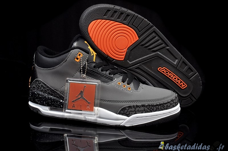 Chaussure de Basket Air Jordan 3 Homme Gris Noir Orange