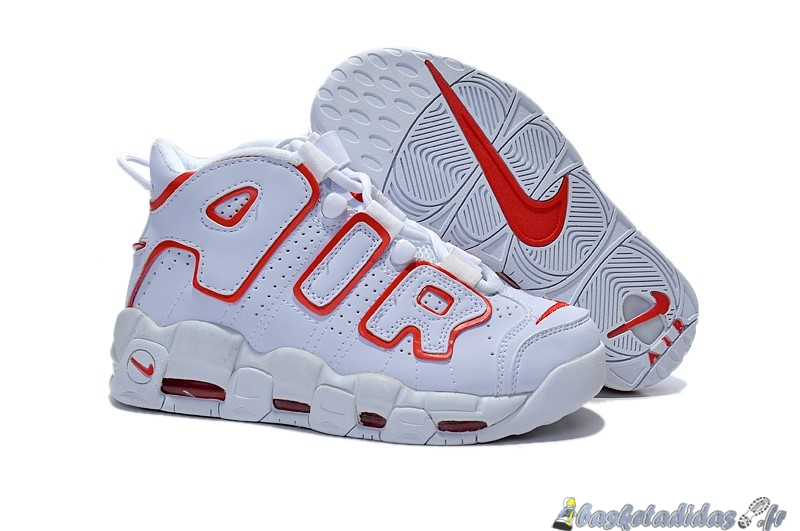 Chaussure de Basket Nike Air More Uptempo Femme Blanc Rouge
