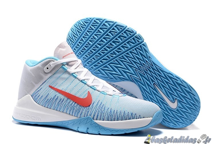 Chaussure de Basket Nike Zoom Ascention Carmelo Anthony Homme Blanc Bleu Rouge